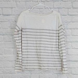LOFT   White & Silver Stripe Long Sleeve Tee-Shirt
